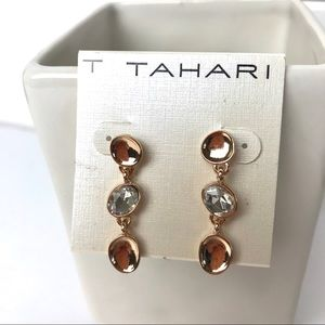 T Tahari gold oval drop earrings
